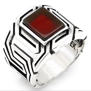 925 Sterling Silver Red Agate Men's Ring